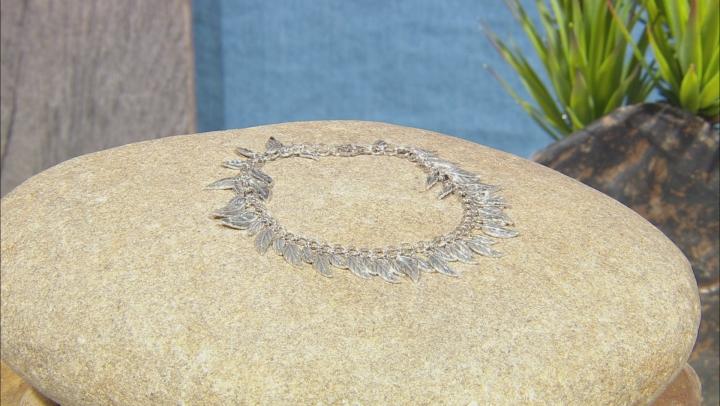 Rhodium Over Sterling Silver Leaf Charm Bracelet