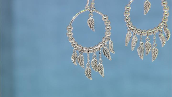 Rhodium Over Silver Leaf Charm Earrings