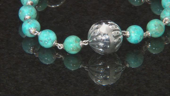 Turquoise Rhodium Over Silver Bead Bracelet
