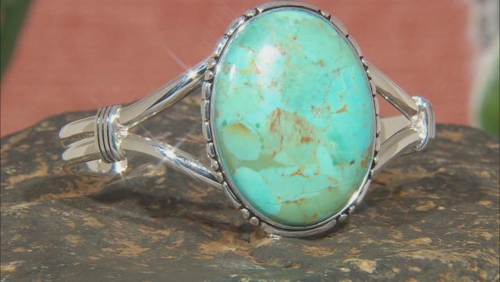Turquoise Rhodium Over Silver Cuff Bracelet