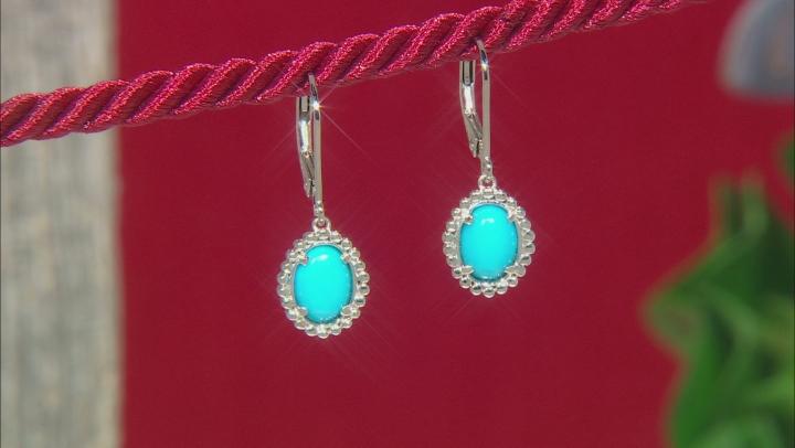 Turquoise Sleeping Beauty Rhodium Over Silver Earrings