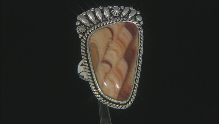 Yellow Wave Travertine Rhodium Over Silver Ring