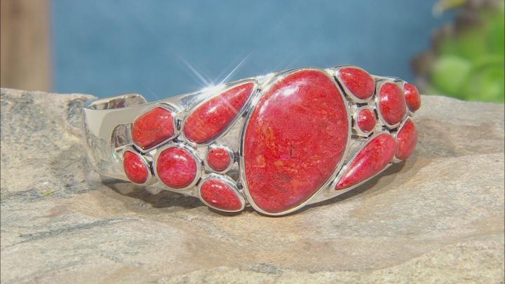 Red Sponge Coral Rhodium Over Silver Cuff Bracelet
