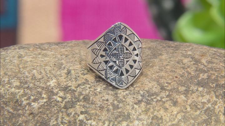 Rhodium Over Sterling Silver Tribal Flower Ring