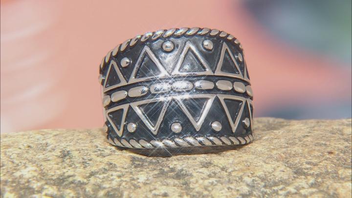 Rhodium Over Silver Tribal Design Ring