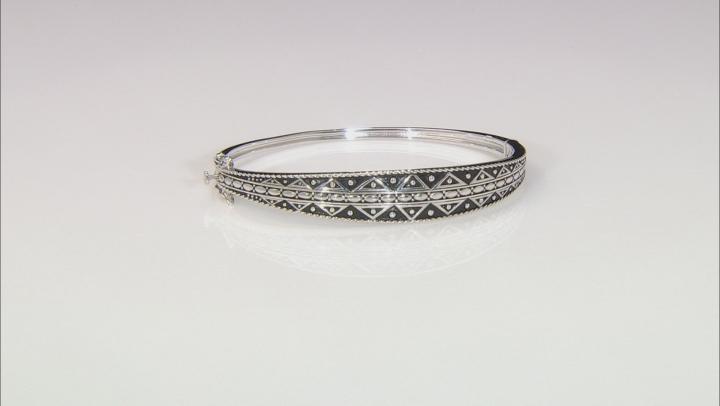 Rhodium Over Sterling Silver Tribal Design Bangle Bracelet