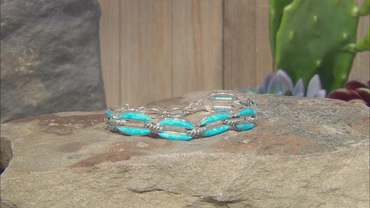 Turquoise Rhodium Over Silver Tennis Bracelet