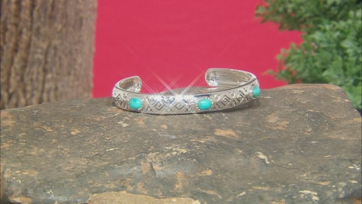Turquoise Rhodium Over Silver Cuff Bracelet Set Of Three