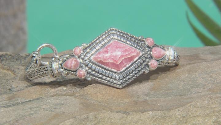Mixed Shapes Rhodochrosite Rhodium Over Silver Bracelet