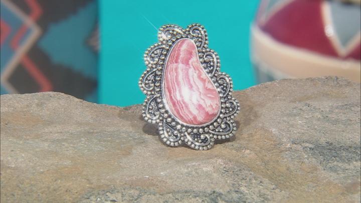 Rhodochrosite Rhodium Over Silver Paisley Ring