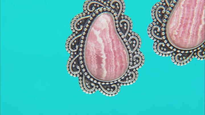 Rhodochrosite Rhodium Over Silver Paisley Design Dangle Earrings