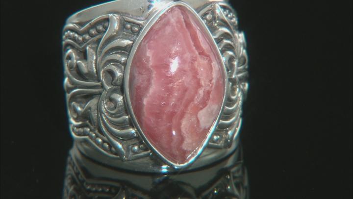 Rhodochrosite Rhodium Over Silver Solitaire Ring
