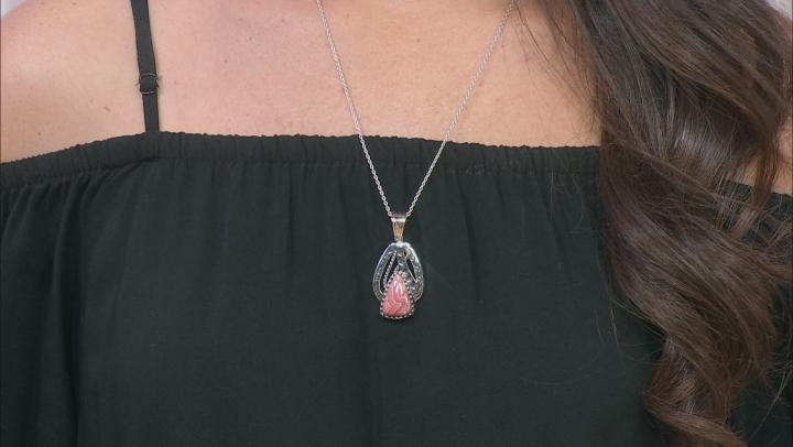 """Pink Rhodochrosite Rhodium Over Silver Enhancer With 18"""" Chain"""