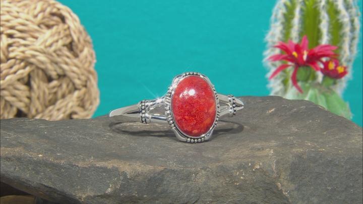 Coral Rhodium Over Silver Cuff Bracelet