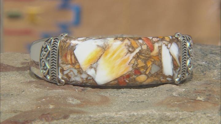 Spiny Oyster Shell Rhodium Over Silver Bracelet