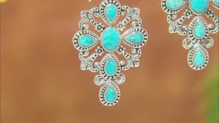 Turquoise Rhodium Over Silver Cross Dangle Earrings