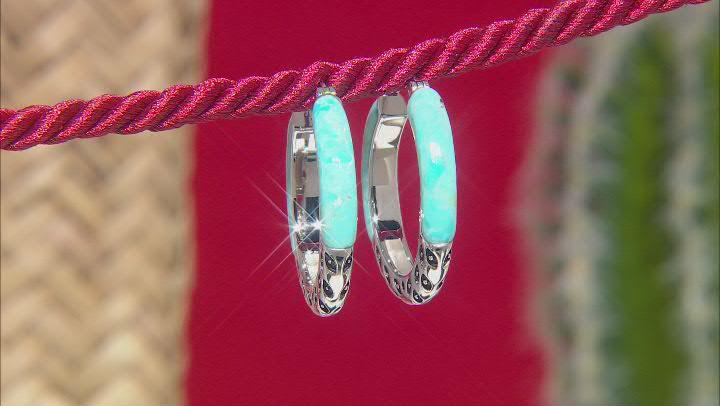 Blue Turquoise Rhodium Over Sterling Silver Hoop Earrings