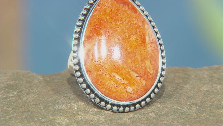 Orange Sponge Coral Rhodium Over Sterling Silver Ring