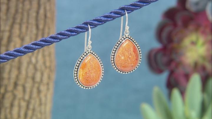 Orange Pear Shaped Sponge Coral Rhodium Over Sterling Silver Dangle Earrings