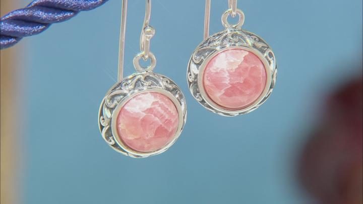 Rhodochrosite Rhodium Over Silver Dangle Earrings