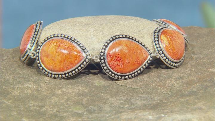 Orange Pear Shaped Coral Rhodium Over Sterling Silver Bracelet