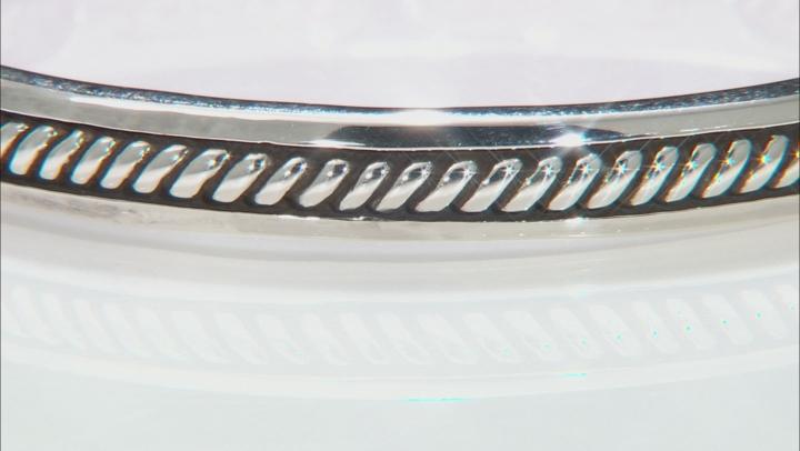 Oxidized Rhodium Over Silver Bangle Bracelet