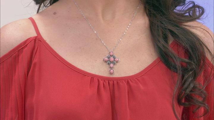 Pink Rhodochrosite Rhodium Over Silver Cross Pendant With Chain