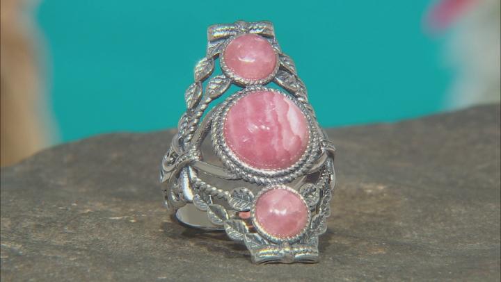Pink Rhodochrosite Rhodium Over Silver Ring