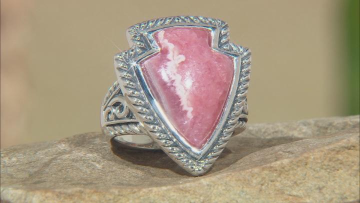 Rhodochrosite Rhodium Over Silver Ring 20x15mm
