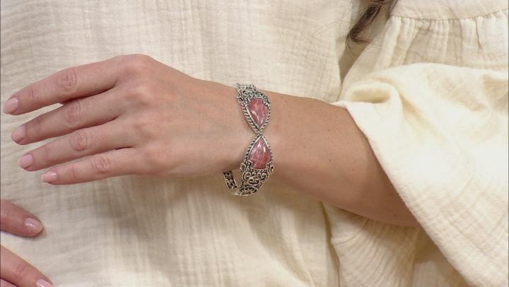 Rhodochrosite Rhodium Over Silver Cuff Bracelet