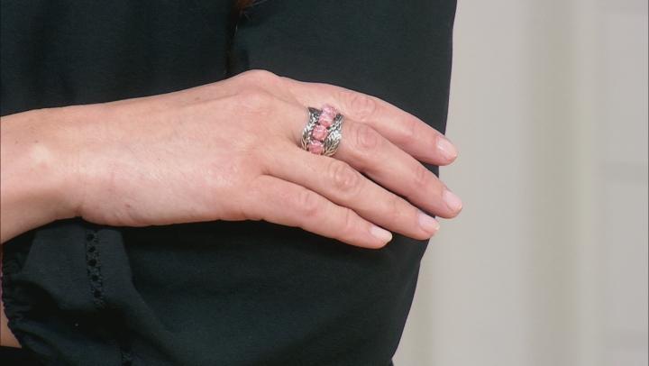 Rhodochrosite Cabochon Rhodium Over Silver Feather Ring