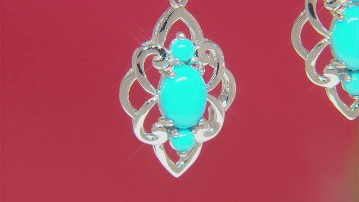 Sleeping Beauty Turqoise Rhodium Over Sterling Silver Dangle Earrings