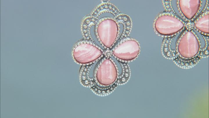 Pink Rhodochrosite Rhodium Over Silver Earrings