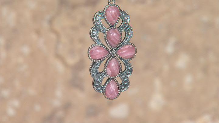 Pink Rhodochrosite Rhodium Over Silver Pendant with Chain