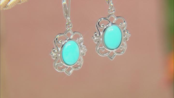 Sleeping Beauty Turquoise Rhodium Over Silver Dangle Earrings