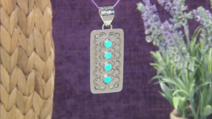 Sleeping Beauty Turquoise Rhodium Over Silver 4 Stone Pendant
