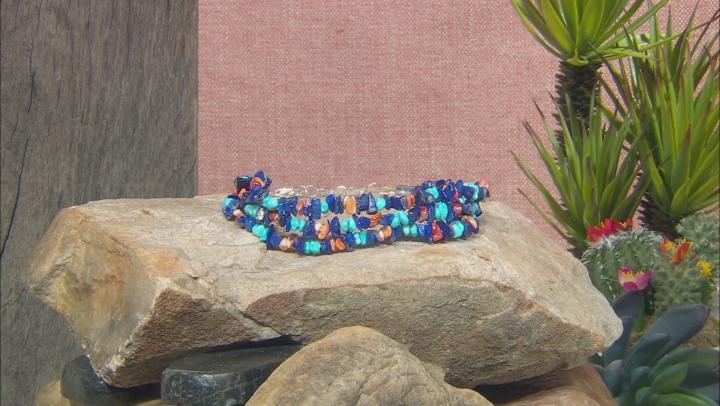 Sleeping Beauty Turquoise, Lapis, Oyster Shell Rhodium Over Silver Multi Strand Bracelet