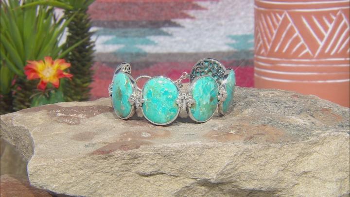 Blue Turquoise Rhodium Over Silver 6-Stone Bracelet