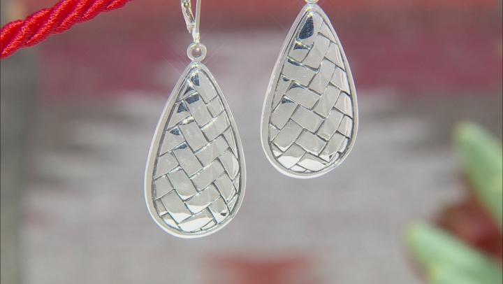Rhodium Over Sterling Silver Basket Weave Dangle Earrings