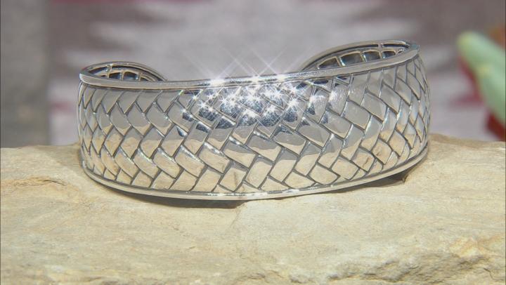 Rhodium Over Sterling Silver Basket Weave Cuff Bracelet