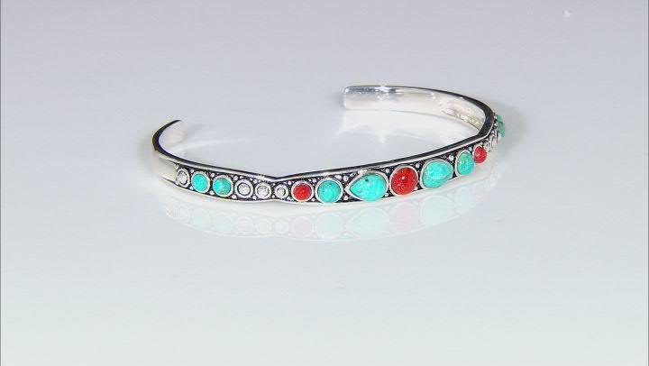 Blue Turquoise and Red Sponge Coral Sterling Silver Set of 3 Bangle Bracelets