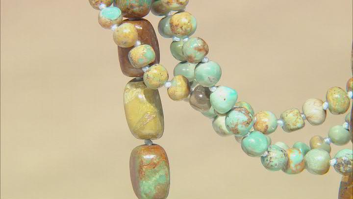 Multi-Color Turquoise In Matrix Rhodium Over Silver Necklace