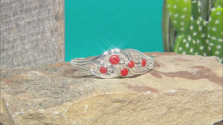 Red Sponge Coral Rhodium Over Sterling Silver Cuff Bracelet