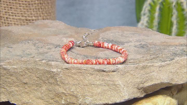Orange Spiny Oyster Shell Rhodium Over Sterling Silver Bracelet
