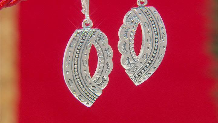 Detailed Rhodium Over Sterling Silver Dangle Earrings