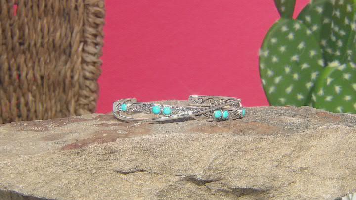 Sleeping Beauty Turquoise Rhodium Over Silver Cuff Bracelet