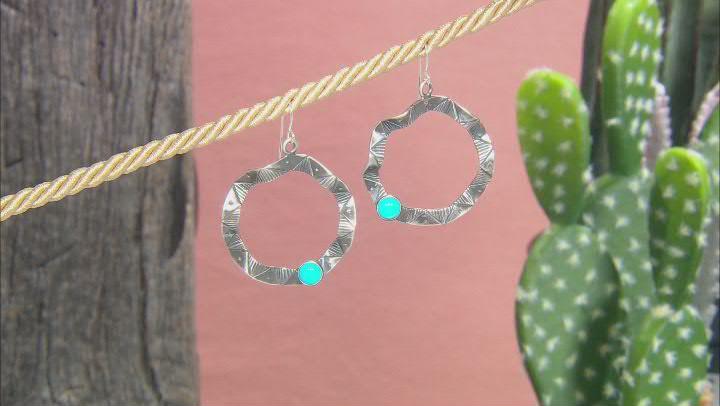 Blue Sleeping Beauty Turquoise Rhodium Over Silver Southwestern Print Earrings