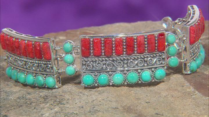 Blue Turquoise and Red Sponge Coral Station Bracelet