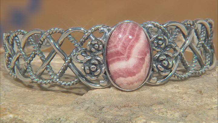 Pink Rhodochrosite Rhodium Over Sterling Silver Cuff