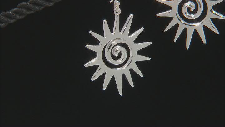 Sun Rhodium Over Sterling Silver Dangle Earrings